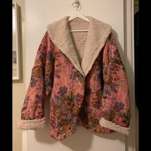 oversized floral faux shearling reversible coat